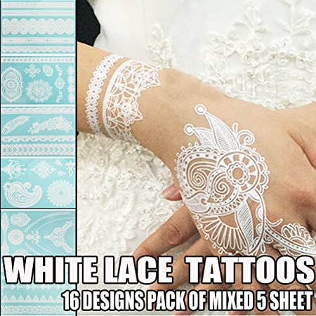 Bluezoo Henna Body Paints Tattoos Stickers Whitelace Tattoo For Girlswomen Necklacebracelets Patterns