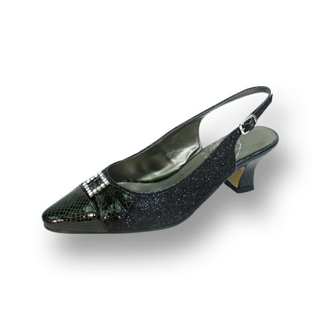 FLORAL Nancy Women's Wide Width Evening Dress Shoes for Wedding, Prom, & Dinner BLACK