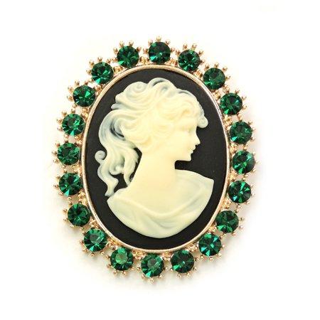 Faship Gorgeous Rhinestone Crystal Portrait Cameo Pin Brooch