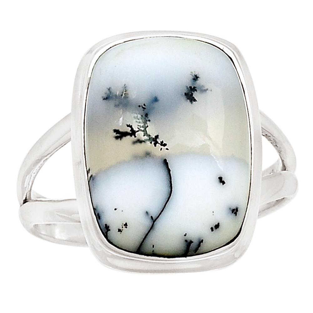 XTREMEGEMS Merlinite - Dendritic Opal 925 Sterling Silver Ring Jewelry s.10 8190R