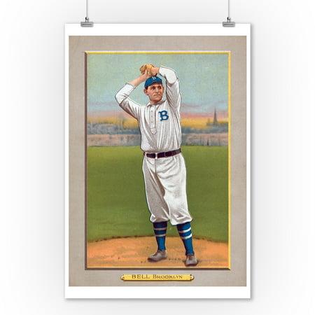 Brooklyn Dodgers - George Bell - Baseball Card (9x12 Art Print, Wall Decor Travel Poster) 1951 Brooklyn Dodgers