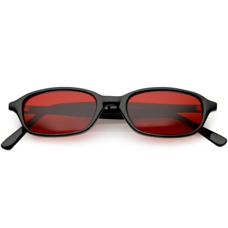 True Vintage Small Horn Rimmed Rectangle Sunglasses Color Tinted Lens 46mm (Black / Red)