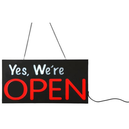 Open Store Sign, Neon Red and White LED Bulbs, Mount Hardware Included (Black ABS Plastic) - Neon White