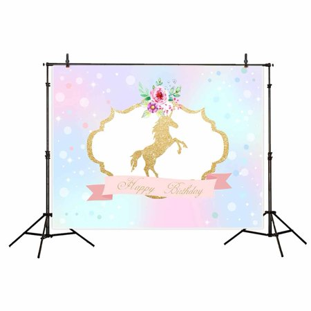 GreenDecor Polyster 7x5ft Unicorn Happy birthday backdrop for photography background Rainbow Flowers Party Banner Baby shower Children