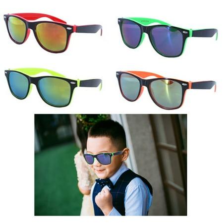 2 Kids Sunglasses Neon Reflective Baby Toddler Boys Girls Square Frame Glasses](Kid Glasses)