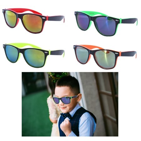 2 Kids Sunglasses Neon Reflective Baby Toddler Boys Girls Square Frame (Rubber Neon Sunglasses)