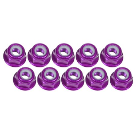 (Integy RC Toy Model Hop-ups 3RAC-NF30/PU 3Racing 3mm Aluminum Flanged Lock Nuts (10 Pcs) - Purple)