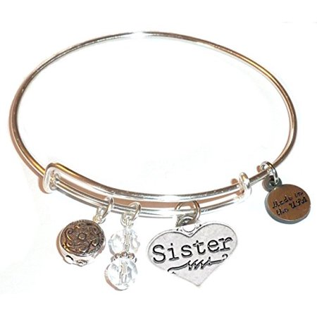 "Hidden Hollow Beads ""Sister (Heart)"" Message Charm Expandable Wire Bangle Bracelet, COMES IN A GIFT BOX!"