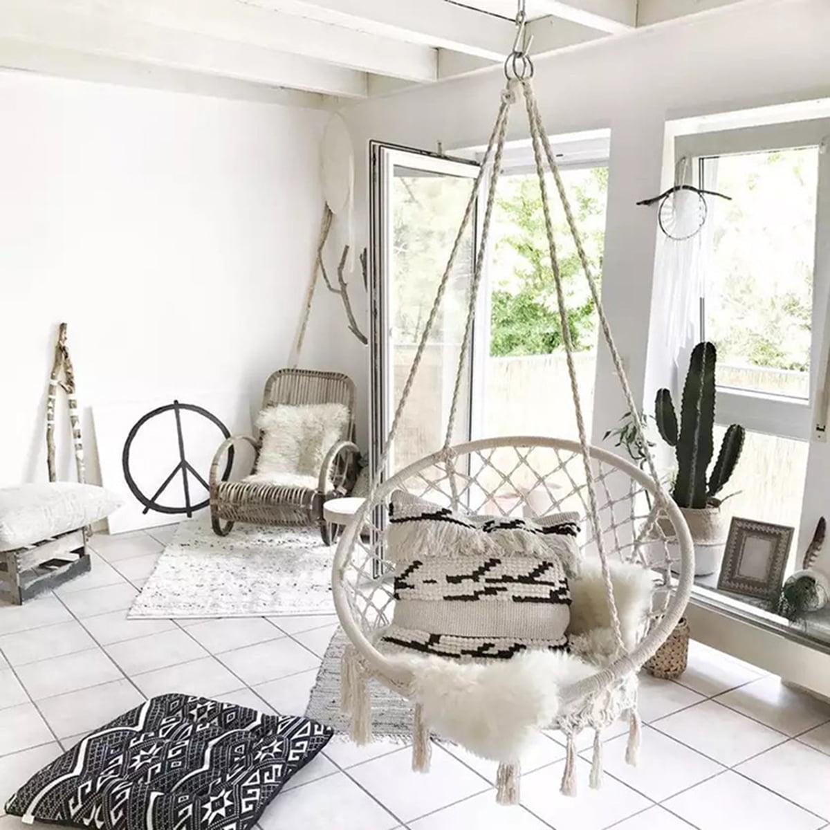 """47.2"""" Indoor Hanging Chair Macrame Hammock Swing Chair Cotton Rope Outdoor Garden 260LB"""