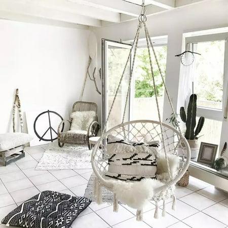 47 2 Indoor Hanging Chair Macrame Hammock Swing Cotton Rope Outdoor Garden 260lb