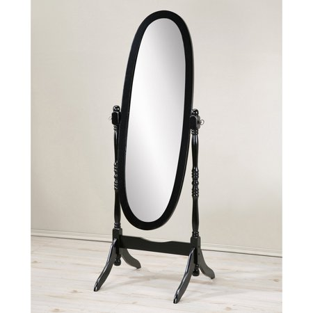 Roundhill Traditional Queen Anna Style Wood Floor Cheval Mirror, Black Finish