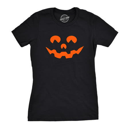 Womens Cartoon Eyes Pumpkin Face Funny Fall Halloween Spooky T shirt