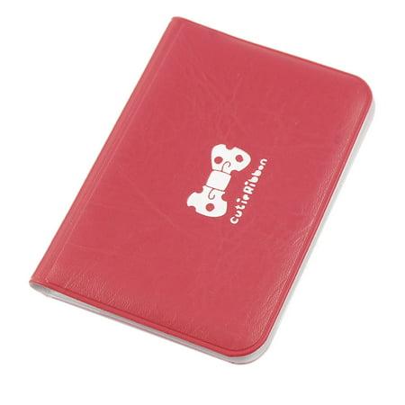 Unique Bargains Red Faux Leather Bowknot Decor 12 PVC Pockets Cards