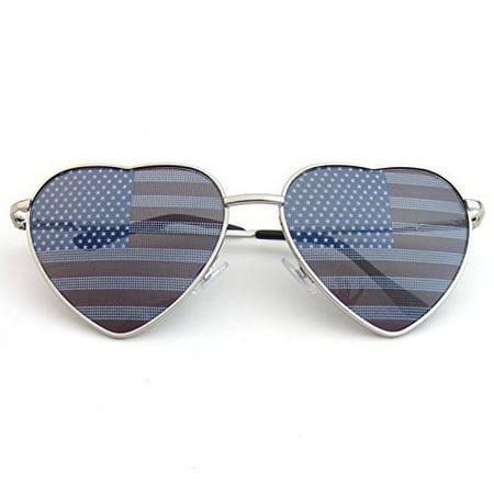 Emblem Eyewear - Premium US Aviator USA American Flag Sunglasses United States Stars Heart Shades (Silver) - Sunglasses Star