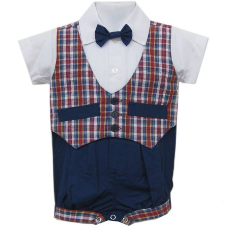 Baby Boys Blue Red Plaid Bowtie Short Sleeve One-piece Bodysuit 3-9M](Plaid Onesie)