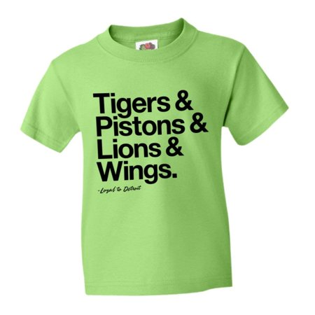 best service c3fc5 8d90a PleaseMeTees™ Youth Kids Loyal to Detroit Michigan Tigers Pistons Lions Red  Wings Sports Tee - Walmart.com
