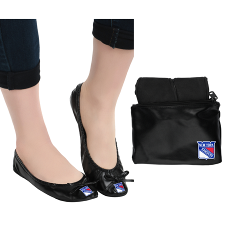 New York Rangers NHL Womens Foldable Flats Shoes with Clutch - Large ()