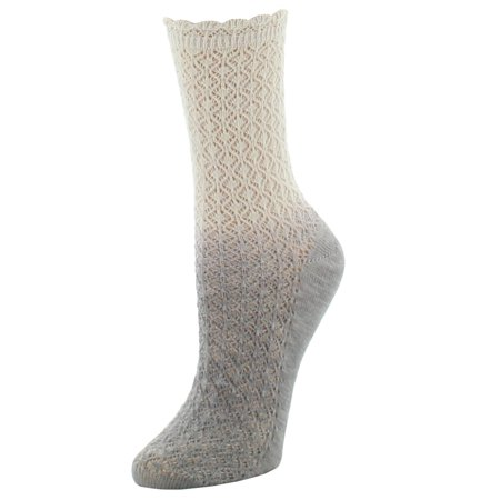 Natori Ombre Cotton Blend Textured Crew Socks One Size / Pale Silver Silver Cycling Socks