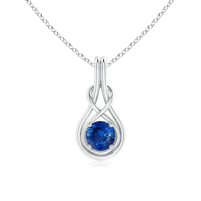 Angara Round Sapphire Pendant in Platinum 4xYNx4A