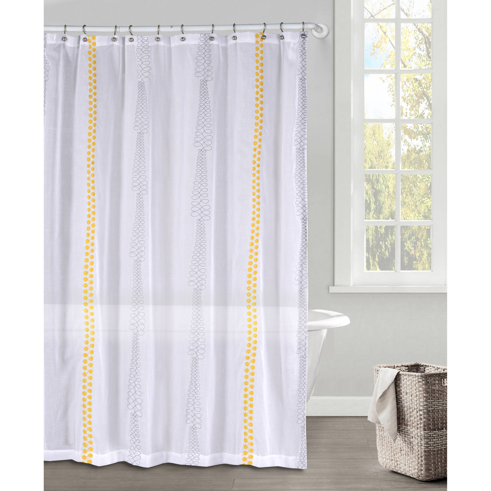 Kettering Braid Emb Faux Linen Shower Curtain