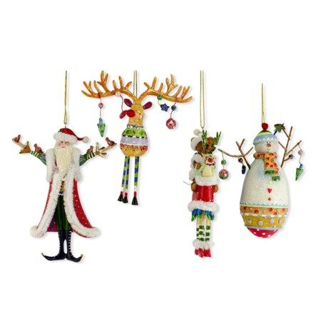Resin Christmas Ornaments.Set Of 4 Santa Snowman Reindeer Teddy Bear Resin Christmas Ornaments 5 Inches 3 Inches