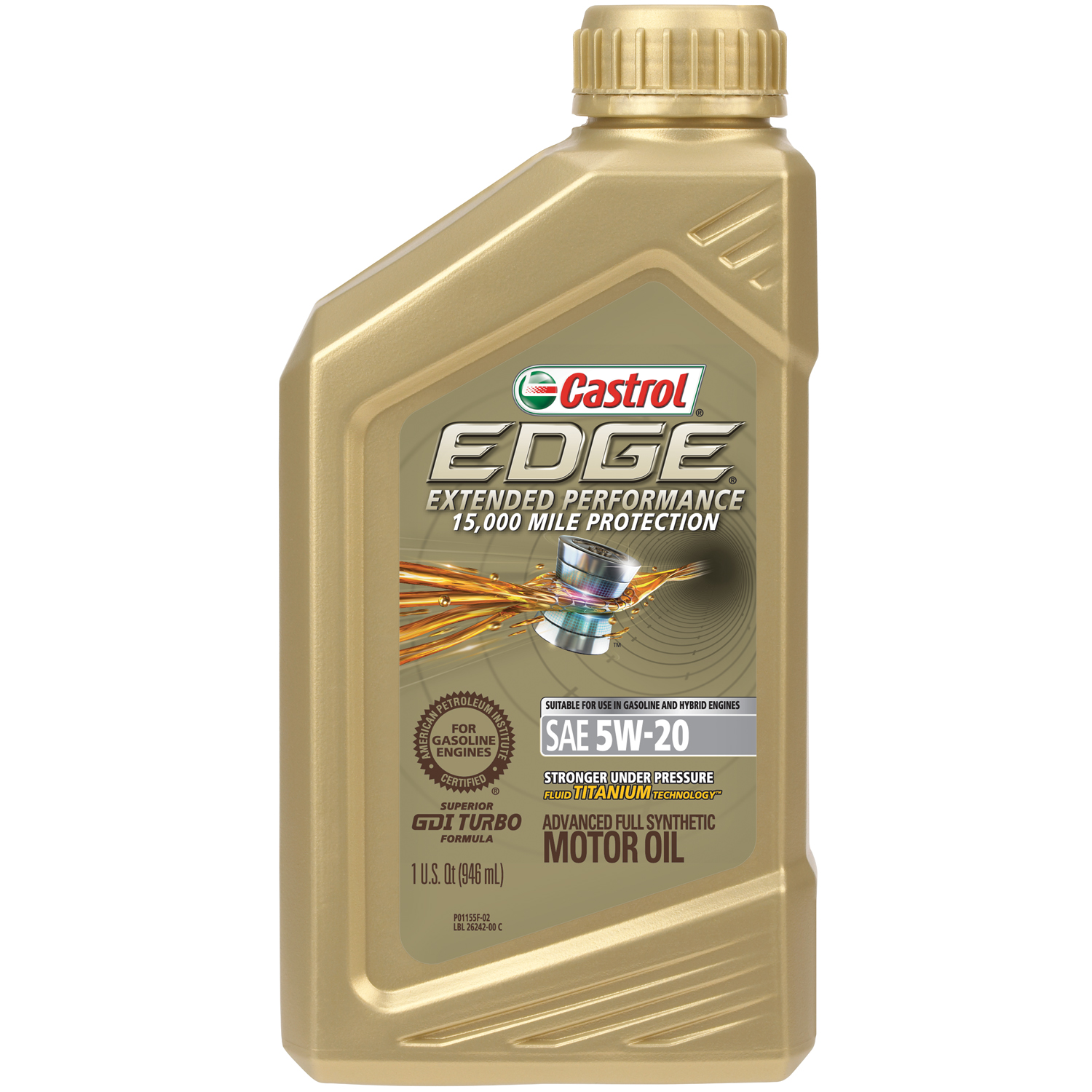 Castrol EDGE Extended Performance 5W-20 Advanced Full Synthetic Motor Oil, 1 QT