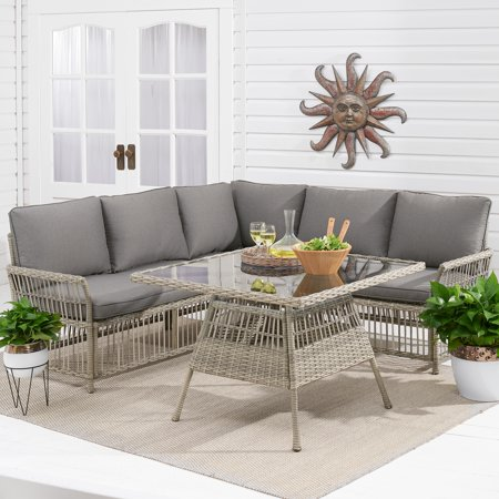 Superieur Better Homes U0026 Gardens Belfair 4 Piece Outdoor Wicker Sectional Dining Set  With Gray Cushions