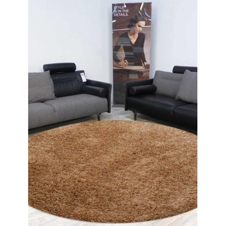 Hand Tufted Shag Carpet Solid Beige Polyester Shaggy 8x8