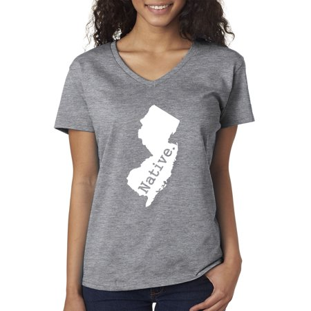 Heather Gray Jersey (Trendy USA 677 - Women's V-Neck T-Shirt New Jersey Native Exclusive State Collection USA Medium Heather Grey)