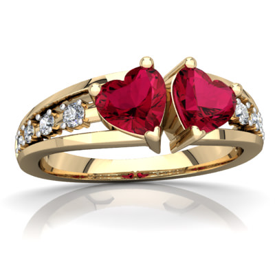 Lab Ruby Heart to Heart Ring in 14K Yellow Gold Walmart