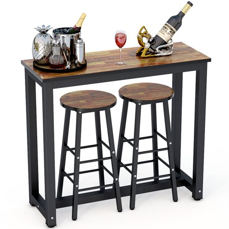 Tribesigns 3 Piece Pub Table Set Counter Height Dining