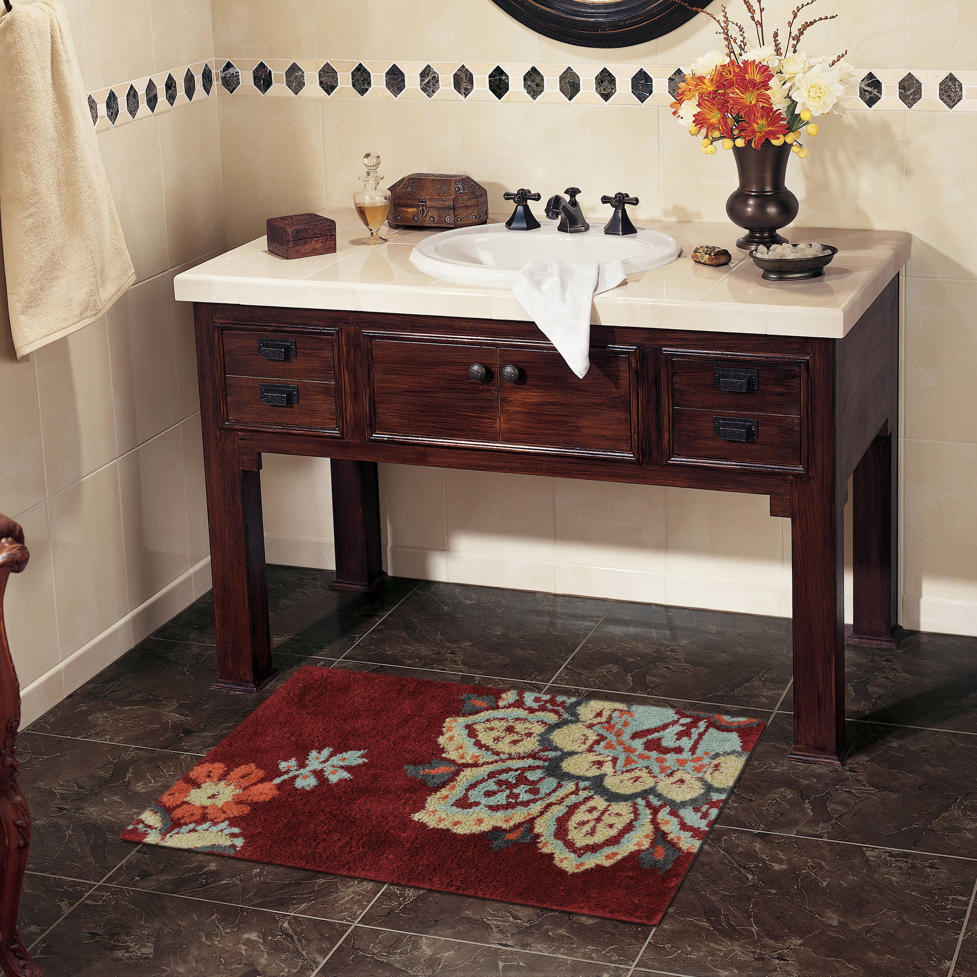 Click here to buy Better Homes and Gardens Jacobean Bath Rug, Red by Mohawk Home.