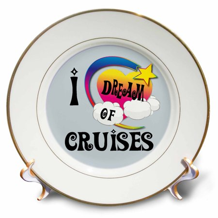 Dreams Porcelain (3dRose Cute Girly Heart Star Clouds I Dream Of Cruises, Porcelain Plate, 8-inch )