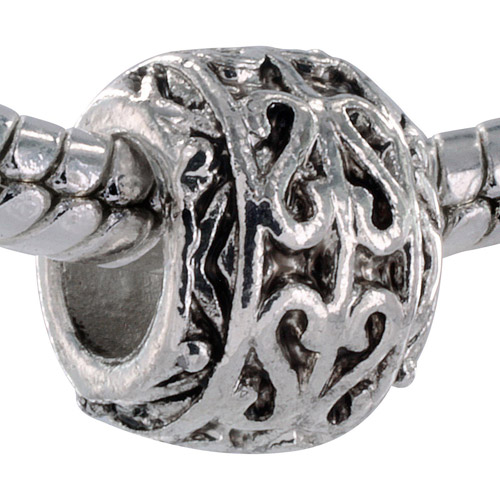 Pacific Charms Silver-Tone Crystal Bead, Antiqued Heart Swirl
