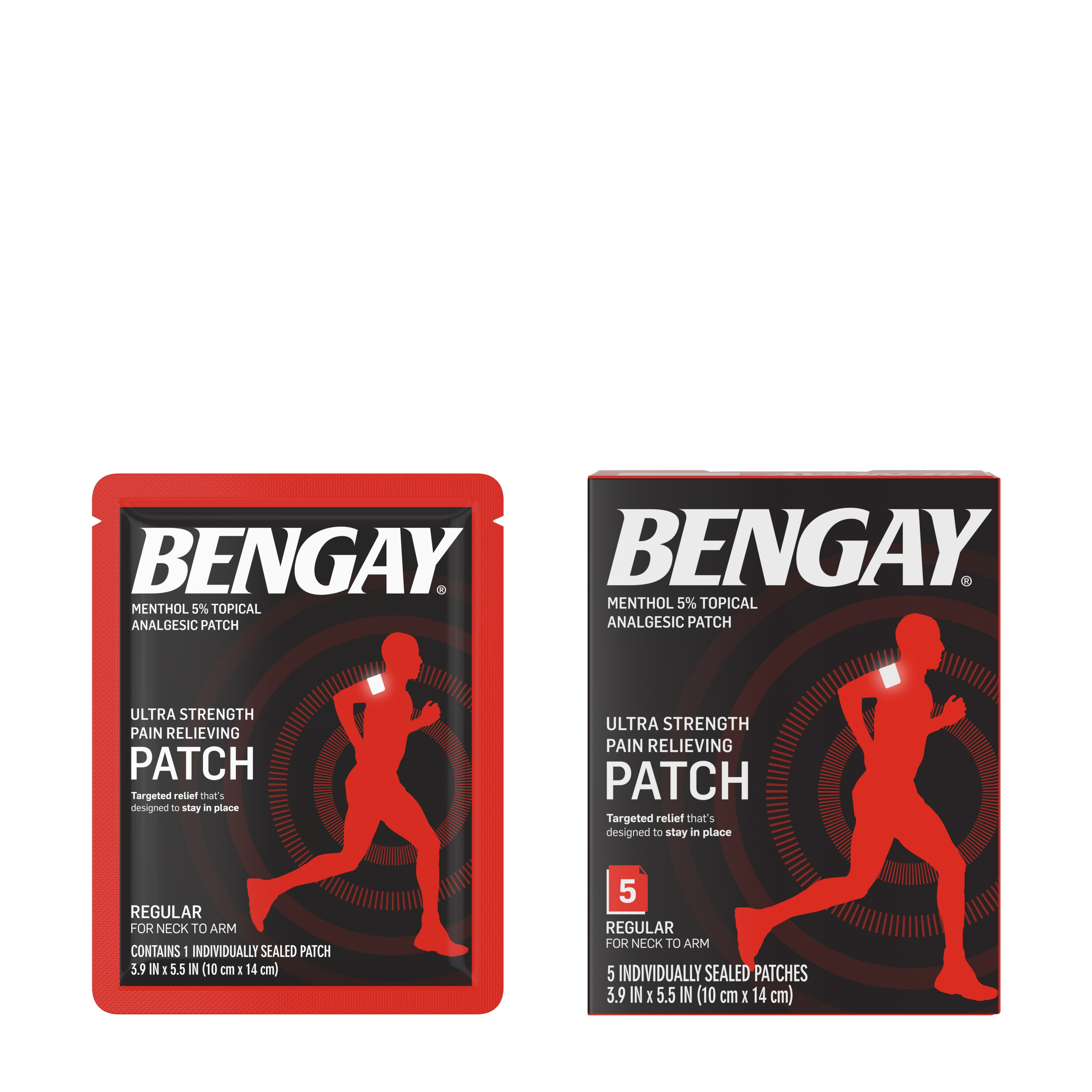 Ultra Strength Bengay Pain Relief Patch, 3.9 x 5.5 in, 5 ct
