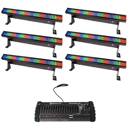 (6) Chauvet COLORSTRIP MINI LED DJ Light Bar Effect Color Strips+DMX Controller Chauvet Led Color