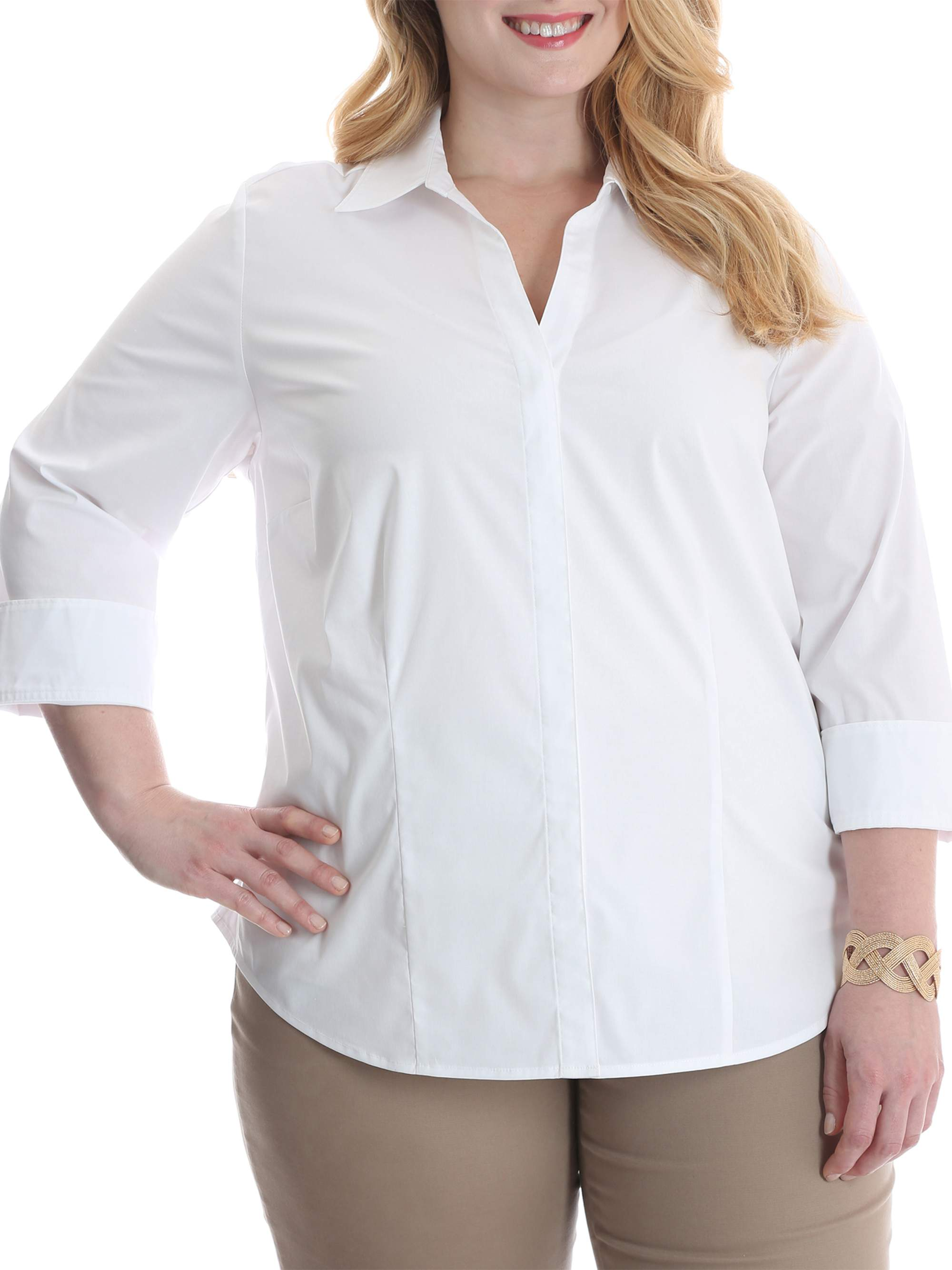 Riders by Lee Women's Plus 3/4 Sleeve Classic Career Shirt
