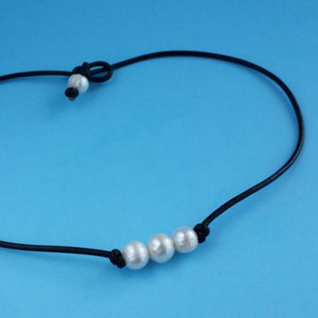 AkoaDa  Freshwater Pearl Choker Necklace for Women Genuine Leather Jewelry Handmade Exclusive Genuine Pearl