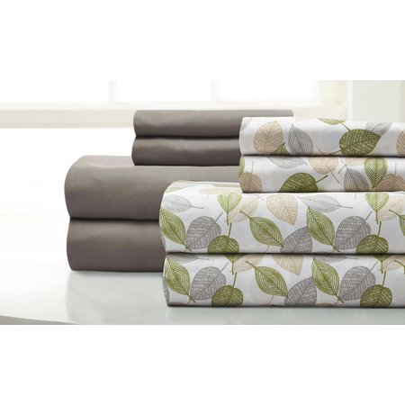 Image of 8 piece sheet set Falling Leaves Fern Green Full