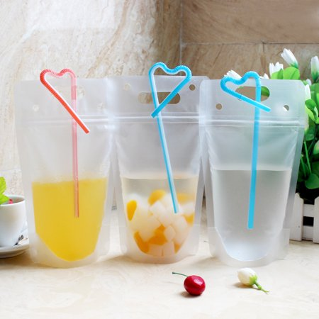 50pcs Clear Reclosable Zipper Stand Up Plastic Drink Pouches Bags With Colorful Straws