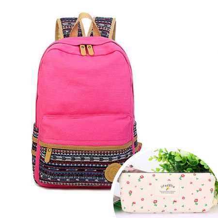 - Canvas School Bag Backpack, Fashionable Canvas Zip Backpack School College Laptop Bag for Teens Outdoor Girls Students Casual Lightweight Travel Daypack with Pencil Case