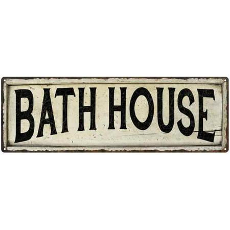 BATH HOUSE Farmhouse Style Wood Look Sign Gift 6x18 Metal Decor 106180028090