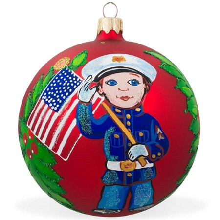 USA Marine Soldier w/ American Flag Glass Ball Patriotic Christmas Ornament 4 Inches (Patriotic Christmas Ornaments)