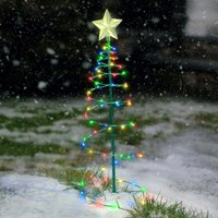 Solar Metal LED Christmas Tree Decoration Light - Multi-Colored