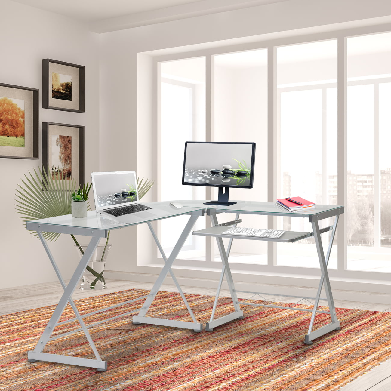 Techni Mobili L Shaped Tempered Glass Top Computer Desk With Pull