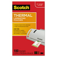 Scotch Business Card Size Thermal Laminating Pouches, 5 mil, 3 3/4 x 2 3/8, 100/Pack -MMMTP5851100