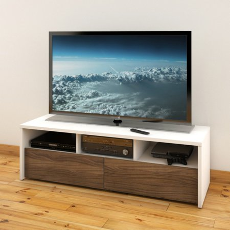 Liber T White Walnut Tv Stand  For Tvs Up To 60