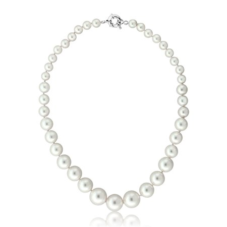 Round 8MM to 16MM White Shell Pearl Necklace 18 Inches