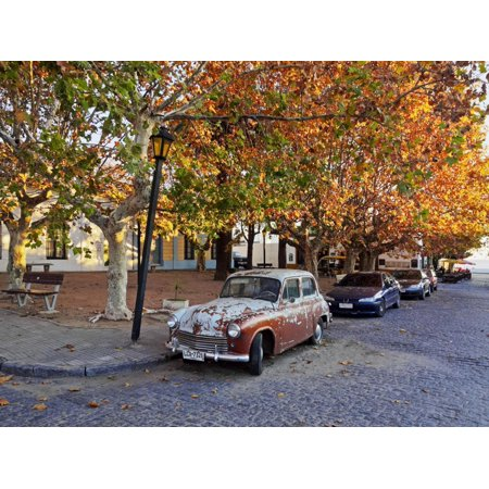 Manos Del Uruguay Cotton (Uruguay, Colonia Department, Colonia del Sacramento, Vintage car on the cobblestone lane of the his Print Wall Art By Karol Kozlowski )