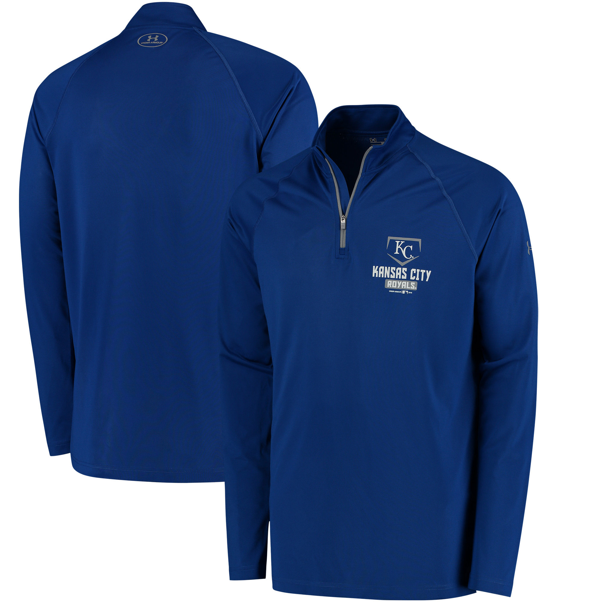 Men's Under Armour Royal Kansas City Royals Tech Quarter-Zip Performance Pullover Jacket